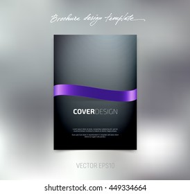 Vector brochure or booklet cover design template. Business concept. Flyer idea. Glossy purple silky ribbon.