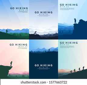 Vector brochure cards set. Travel concept of discovering, exploring and observing nature. Hiking. Adventure tourism. Flat design template of flyer, magazine, book cover, banner, invitation, poster.
