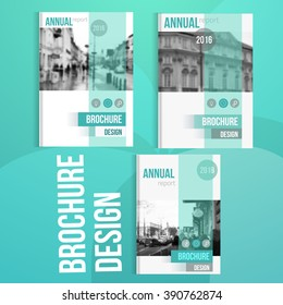 Vector brochure cover templates with blured city landscape. Business book cover design, flyer brochure cover, professional corporate  identity style for presentations.