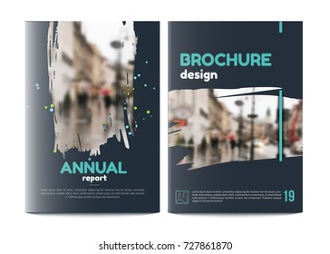 Vector brochure cover templates with blured city landscape. Business book cover design, flyer brochure cover, professional corporate identity style for presentations. A5
