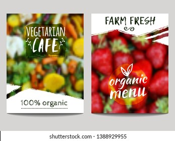 Vector brochure design template with blur background vegetables, fruits and eco labels. Healthy fresh food, vegetarian, eco concept. Can be used for presentation, web, flyer, magazine, cover, poster