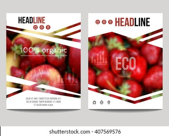 Vector brochure design template with blur background with fruits and strawberry. Healthy fresh food, vegetarian and eco concept. Can be used for presentation, web, flyer, magazine, cover, poster.