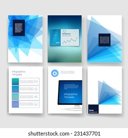 Vector brochure design templates collection. Applications and Infographic Concept. Flyer, Brochure Design Templates. Abstract geometric background. Vector illustration for flyers, posters, banners.