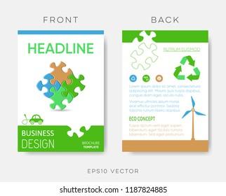 Vector brochure ecology design template puzzle pieces