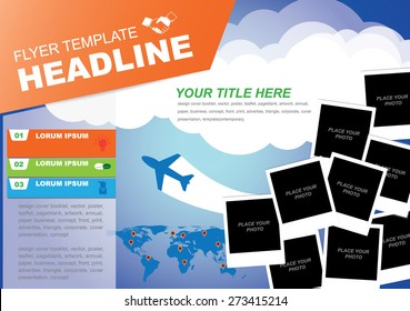 Vector Brochure Flyer design Layout template,travel photo frame for your object