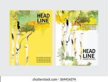 Vector Brochure Flyer design Layout template birch tree design,