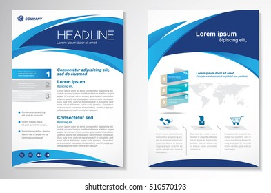 Vector Brochure Flyer design Layout template, size A4, Curve design, Blue color front page and back page, infographics.Easy to use and edit.