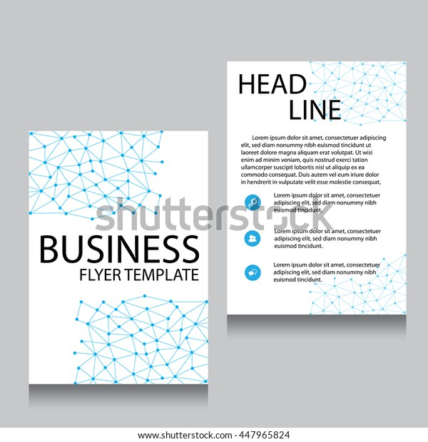 Vector Brochure Flyer design Layout template, Front page and back page, templates, website, Blue color, Editable vector illustration, Abstract background, A4.