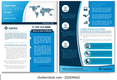 Vector brochure, flyer, magazine cover & poster template. Two ( 2 ) Sides. Back and Front.