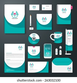 Vector brochure, flyer, magazine cover booklet poster design template/ layout business stationery annual report A4 size/ set of health corporate identity template.