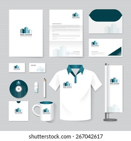 Vector brochure, flyer, magazine, folder, t-shirt,cover booklet poster mockup design template/ layout business stationery building, real estate logo  A4 size/ set of corporate identity template.