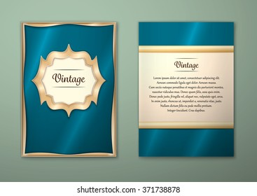 Vector Brochure Flyer royal design Layout template, size A5. Gold frame. Front page and back page. Easy to use and edit.
