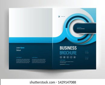 Vector brochure layout, flyer design templates, company profile, magazine, poster, annual report, book covers and booklet, with blue geometric shape and circle design element in A4 size with bleed.