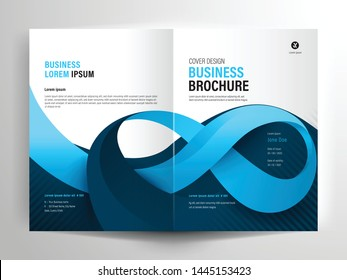 Vector brochure layout, flyer design templates, company profile, magazine, poster, annual report, book covers and booklet, with blue geometric shape and ribbon design element in A4 size with bleed.