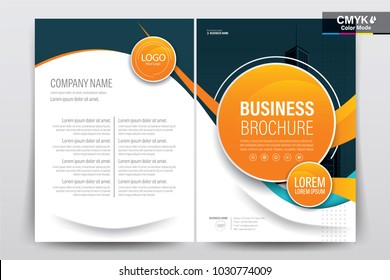 Vector Brochure layout, flyers design template, company profile, magazine, poster, annual report, book & booklet cover, with  orange circle, and cityscape vector in background elements, in size a4.