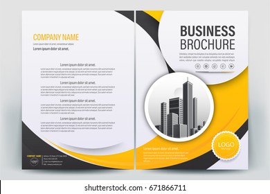 Vector Brochure layout, flyers design template, company profile, magazine, poster, annual report, book & booklet cover, with  orange geometric, and cityscape vector in background elements, in size a4.