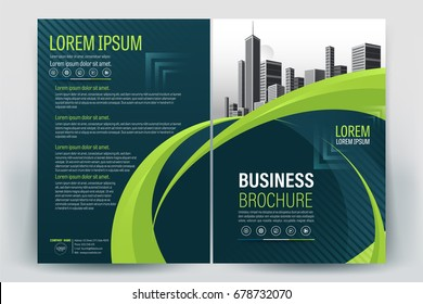 Vector Brochure layout, flyers design template, company profile, magazine, poster, annual report, book & booklet cover, with  green wavy, and cityscape vector in background elements, in size a4.