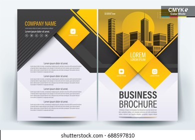 Vector Brochure layout, flyers design template, company profile, magazine, poster, annual report, book & booklet cover, with  yellow geometric, and cityscape vector in background elements, in size a4.