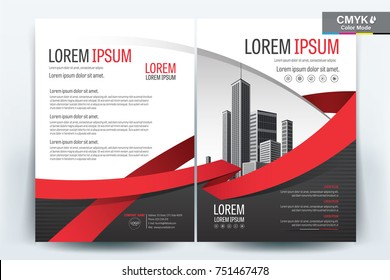 Vector Brochure layout, flyers design template, company profile, magazine, poster, annual report, book & booklet cover, with red ribbon, and cityscape vector in background elements, in size a4.