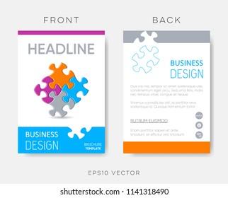 Vector brochure or leaflet design template puzzle pieces