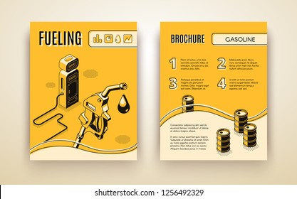 Vector brochure template with 3d isometric gas station, fueling. Booklet, leaflet with oil pistol with nozzle on hose. Drop of ethanol in black line style. Poster, banner for petroleum company.