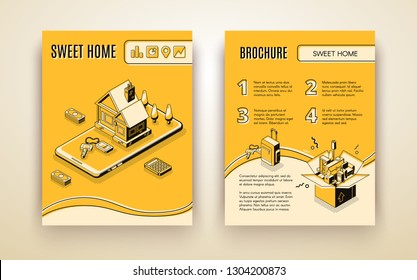 Vector brochure template with 3d isometric house moving - travelling by smart technologies, shipping business. Booklet with line art yellow building, appliance and stuff in box. Management of movement