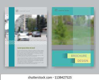 Vector brochure template with blurred landscape. Can be used as a business book cover design, flyer, professional corporate identity.