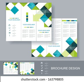 Vector brochure template design with blue, green and grey elements. EPS 10