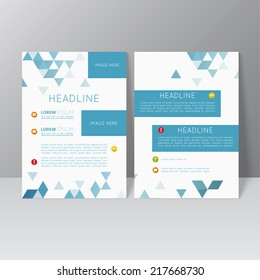 Vector brochure template design with triangles, icons and different elements. Flyer or booklet Layout. catalog