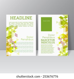 Vector brochure template design with triangles, icons and different elements. Flyer or booklet Layout.