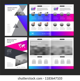 Vector brochure template with trend gradient style