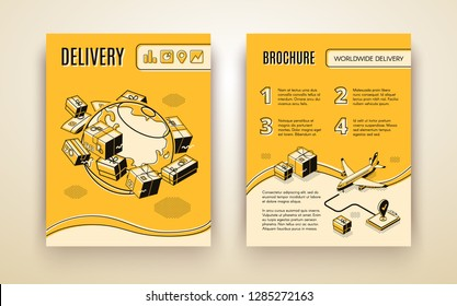 Vector brochure template for worldwide shipping, air delivery. 3d isometric planet with parcels, mail and plane. Booklet in thin line style, transport logistics. Yellow background with boxes, aircraft