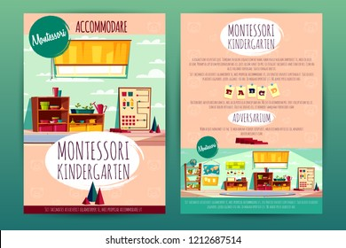 Vector brochures with Montessori kindergarten, teaching in cartoon preschool institution for children. Booklets, pamphlets with a school class, recreational stuff and interior of the kids room.