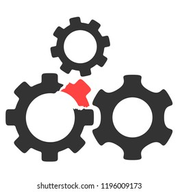 Vector broken gear mechanism illustration. An isolated illustration on a white background.