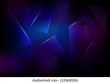 Vector Broken Glass Dark Purple and Blue Background. Explosion, Destruction Cracked Surface Illustration. Abstract 3d Bg for Night Party Posters, Banners or Advertisements