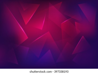 Vector Broken Glass Purple Background. Explosion, Destruction Cracked Surface Illustration. Abstract 3d Bg for Night Party Posters, Banners or Advertisements.