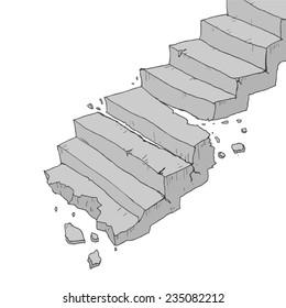 Vector broken stairs