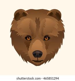 Vector brown bear portrait wild animal icon