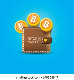 vector brown bitcoin wallet with coins isolated on blue background.