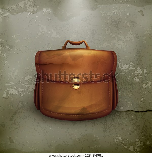 Vector brown briefcase, old-style vector