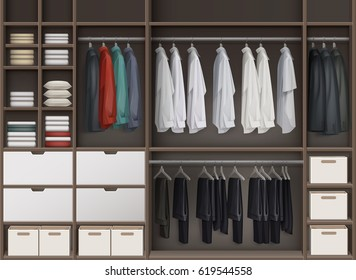 Vector brown cloakroom closet with shelves full of boxes and clothes: shirts,trousers pants, jackets front view
