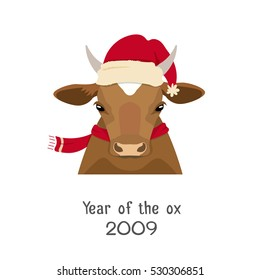 Vector  brown cow head in new year, christmas red hat and scarf. Flat cartoon style bull, calf, face isolated, poster, banner, print, advertisement, web design element. Domestic animals. livestock.