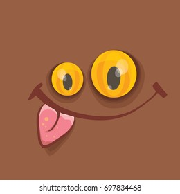 vector brown funny monster face. cartoon monster smiling face with big eyes, mouth and tongue sticking out for kids background, banners and greeting cards