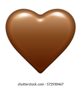 Vector brown glossy chocolate heart bonbon. Isolated On White Background. Good for Valentine's day design.