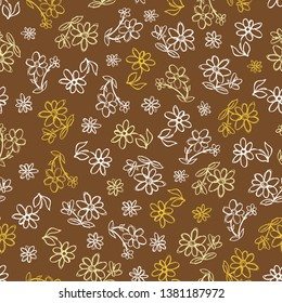 Vector brown hand drawn flowers repeat pattern. Suitable for gift wrap, textile and wallpaper. Suitable for gift wrap, textile and wallpaper. Surface pattern design.