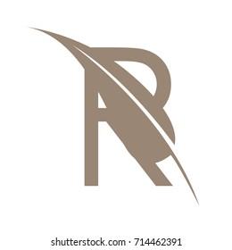 Vector Brown Letter R Leaf Herbal Logo