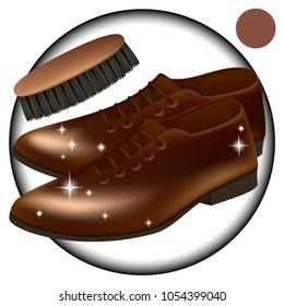 Vector. Brown. Men's shoes classic brown shoes. Brush for cleaning shoes . Care, give a Shoe Shine tools, skin cream . Mesh, realistic illustration