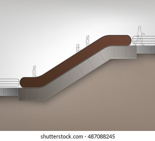 Vector Brown Modern Escalator with Place for Advertising Side view Isolated on Background