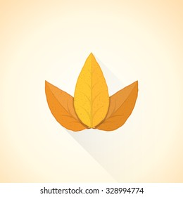 vector brown orange colored flat design textured dry tobacco leafs isolated illustration light background long shadows