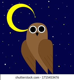 vector brown owl on a background of the night sky
